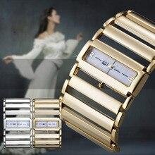 Moda Único Brazalete de Las Mujeres Reloj de Pulsera brazalete Ancho de la Aleación Hollow Band Cuarzo Analógico Rectángulo Cuadrado Dial Relojes Para Dama LL @ 17