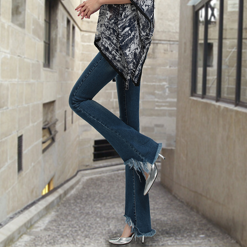 2016 Autumn New Fashion Mini Flared Jeans Hole Irregular Tassel Full Length Pants Slim Female Pants