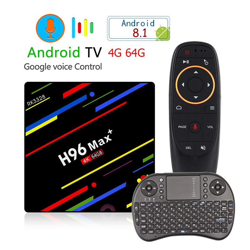 H96 MAX PLUS RK3328 TV Box 4G 64G WiFi 2.4G/5G Bluetooth USB 3.0 Player 4K HD Smart Set Top Box Android 8.1 with Voice Control цены