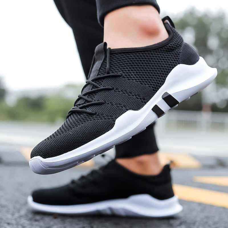 Romмедаль сверхлегкие кроссовки мужские однотонные Черный Белый Синий Серый цвет мужская повседневная обувь летние дышащие спортивные кроссовки обувь