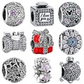 WYBEADS 925 Sterling Silver Charm Clear CZ Daisy Openwork Charms European Bead Fit Bracelet & Bangle DIY Accessories Jewelry