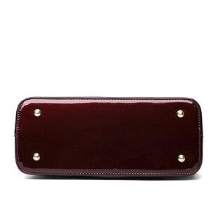 Image 5 - Bolsos de cuero 2 en 1 para mujer, bandoleras con espejo + Paquete de tarjeta, bolsos de mano casuales con asa superior, bolsos de diseñador tipo mensajero