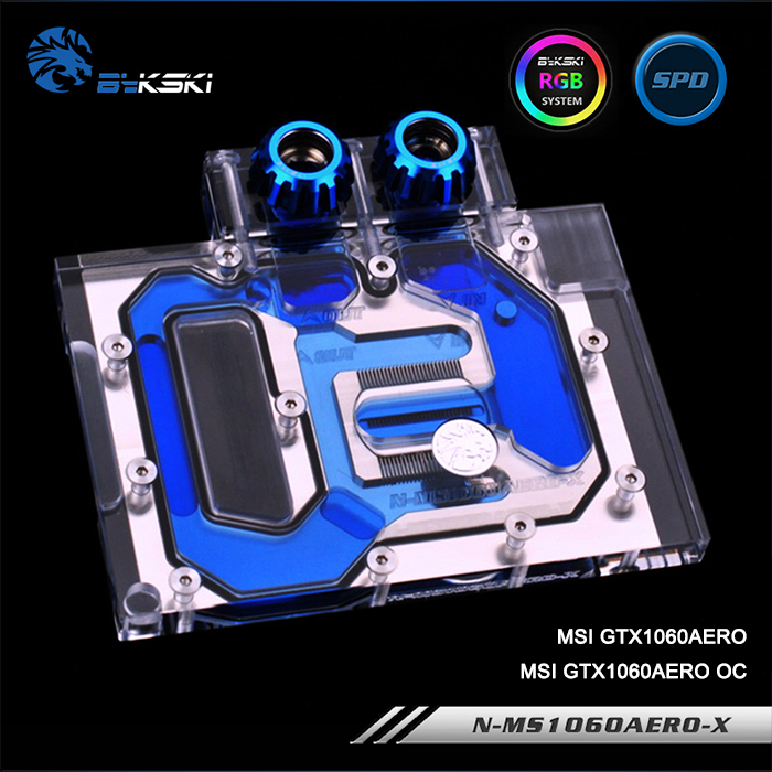 Bykski N-MS1060AERO-X, Full Cover Graphics Card Water Cooling Block RGB/RBW for MSI GTX1060AERO/GTX1060AERO OCBykski N-MS1060AERO-X, Full Cover Graphics Card Water Cooling Block RGB/RBW for MSI GTX1060AERO/GTX1060AERO OC
