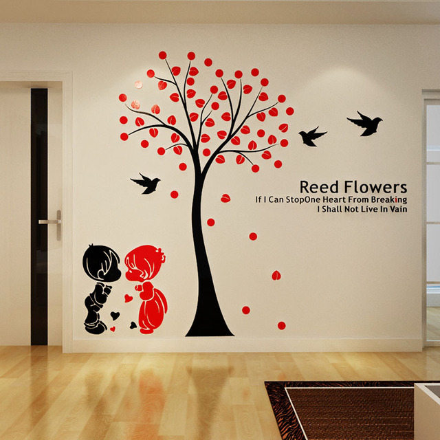 Acacia Tree Acrylic Crystal Stereo Wall Stickers Living Room Cute Couple  Kids Bedroom Entrance Home Decor