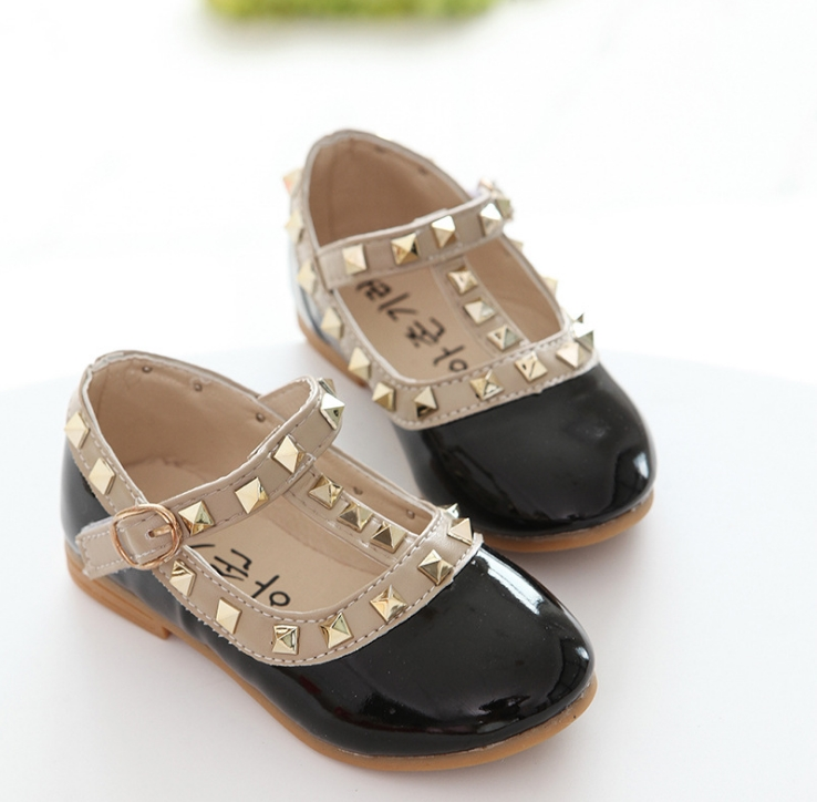 New Fashion Children Lady Girls Princess Shoes PU Leather toddler baby Low-heel Kids mary jean Shoes Rivets Sneakers 3