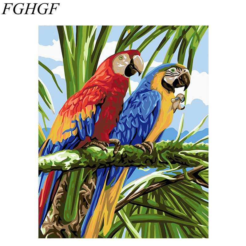 FGHGF Colorful Birds Frameless Pictures DIY Painting By Numbers Oil Painting By Numbers On Canvas Europe Home Decoration