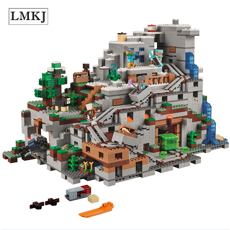 Lepin Diy 2932pcs My worlds Miniecrafted The Mountain Cave Model Building Kit Blocks Bricks Toys Compatible with legoingly 21137