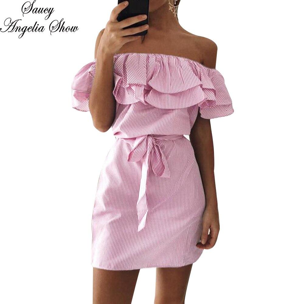 Sexy Slash Neck Mini Party Dresses Ruffles Kawaii Summer Beach Dress ...