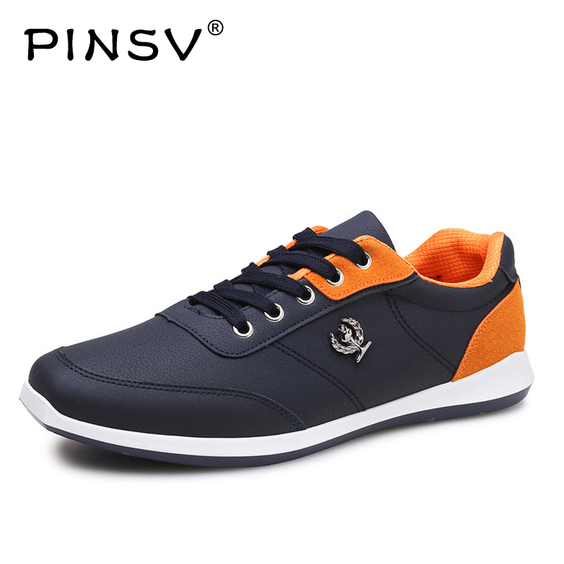 PINSV High Quality Men Outdoor Casual Leather Shoes Male Comfortable Flats Fashion Lace-Up Sneakers Mens Shoes Large Sizes39-44 valstone 2018 men leather casual shoes hip hop gold fashion sneakers silver microfiber high tops male vulcanized shoes sizes 46
