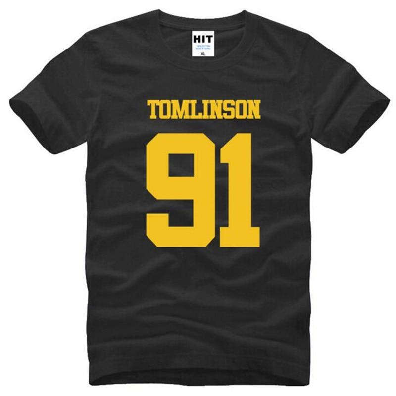 Um sentido 1d louis tomlinson 91 impresso t camisas dos homens verão manga curta o pescoço de algodão camiseta masculina