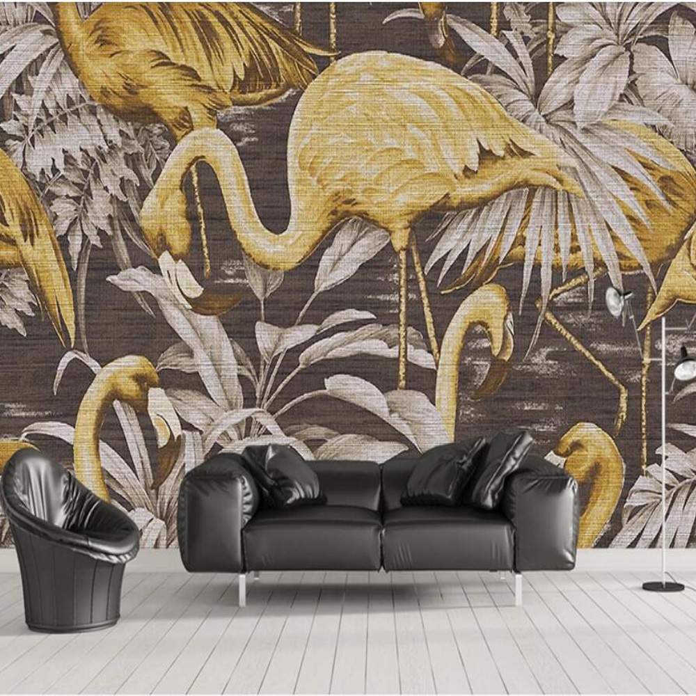Nordic Linen Finish Gold Flamingo Tropical Wallpaper Murals For Living Room Art Wall Decals Wall Mural Paper Contact Paper Roll