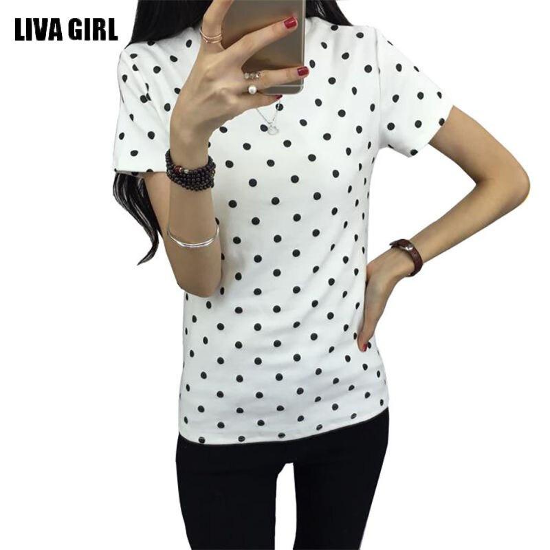 Лето 2017 г. Для женщин футболка в черный пунктир одежда рубашка О-образным вырезом Короткие Топы корректирующие дна Футболки