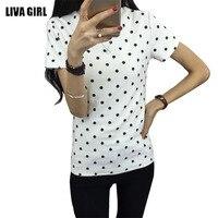 2017 Summer Women's T-Shirt Polka Black Dotted Clothes Shirt O-neck Short Tops Bottoming Tops Tees