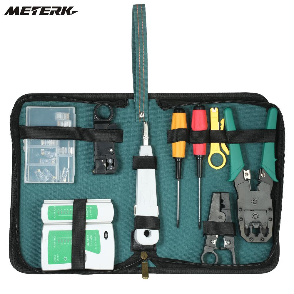 9-in-1 Professional Network Computer Maintenance Repair Tools Kit Cable Tester Crimper Wire Stripper Crystal Cable Connectors wlxy 11 in 1 telecommunications maintenance diagnostic tools set ns 468 cable tester 3 way crimper tool cable stripper
