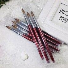Новинка, 1 шт., красная ручка, Соболь, акриловая кисть, плоская, круглая, деревянная ручка, кисть, УФ-гель, поли, кисть для дизайна ногтей, гель-строитель, кисть