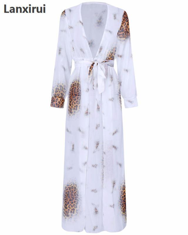 Cardigan Long Kimono Shirts Quimono Leopard Bandage Sexy Tops Long Blouses Women Summer Women 39 S Kimonos Chemisier Femme Blusa in Blouses amp Shirts from Women 39 s Clothing