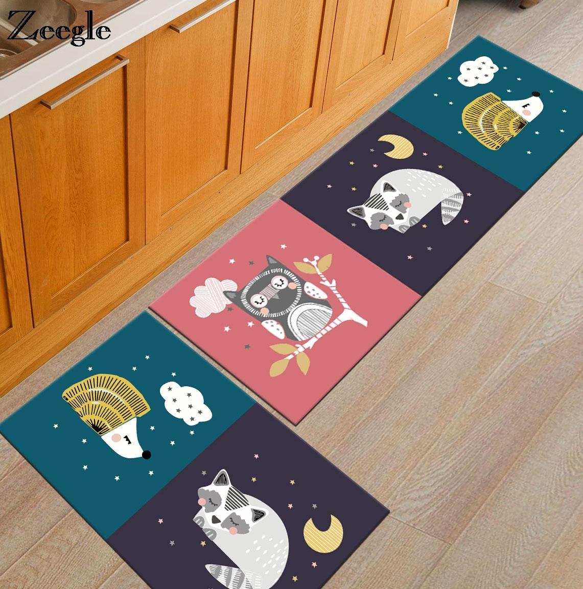 Zeegle мультфильм забавные коврики против скольжения Кухня коврики Кофе стол коврики мягкие Спальня прикроватные коврики прихожей ковер