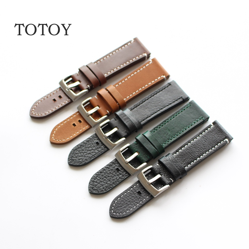 TOTOY Handmade Leather Watchbands 18MM 19MM 20MM 21MM 22MM Retro Leather Watchbands For Military Watch Strap, Fast Delivery handmade leather watchbands version classic men black 24mm 26mm watchbands for panerai strap fast delivery