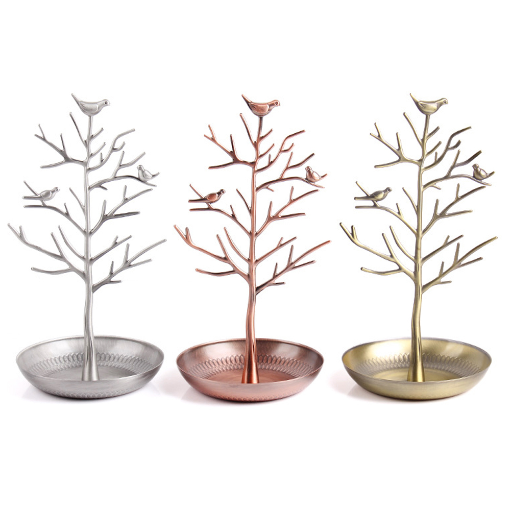 Jewelry Display Stand Rack Tree Bird Stand Iron Necklaces Earring Holder Bracelet Ornament Showcase Fashion Organizer 4 Colors