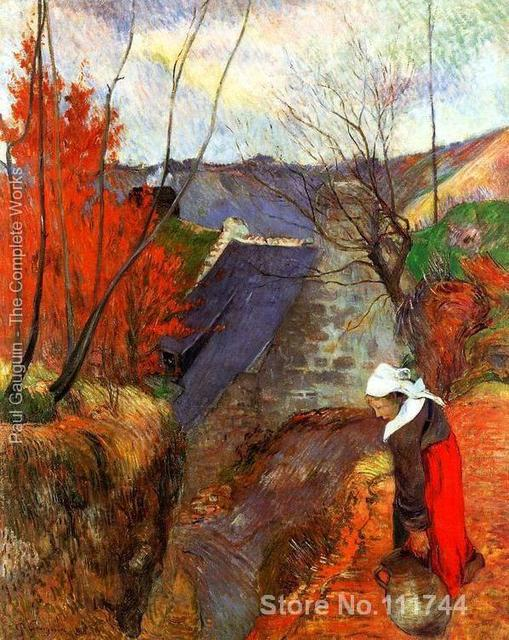Breton Woman With Pitcher Paul Gauguin Famous Paintings Oil Canvas Reproduction High Quality