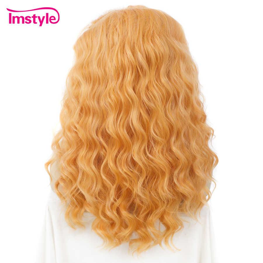 Imstyle оранжевый парик синтетические волосы Кружева передние парики для женщин парики с крутыми локонами для женщин термостойкие волокна косплей парики