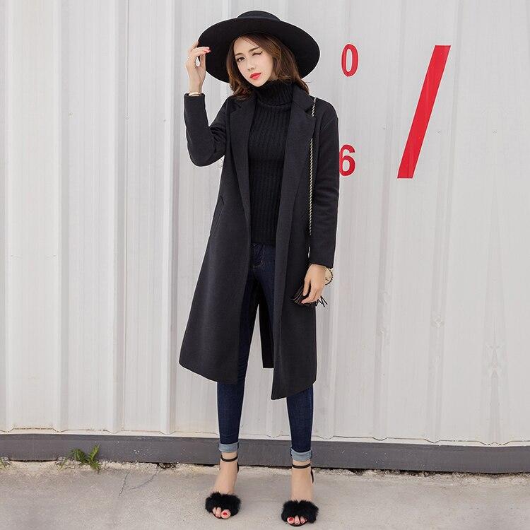 Conception Trench Slim Laine Solide Outwear Ovecoat Femmes De À Longue Manteau Mode Maxi Noir Longues Fit Manches Nouvelle Mince Long Manteaux Qualité f6bYv7yg