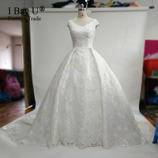 Real Sample Luxury Wedding Gowns Court Train Simple Lace Wedding ...