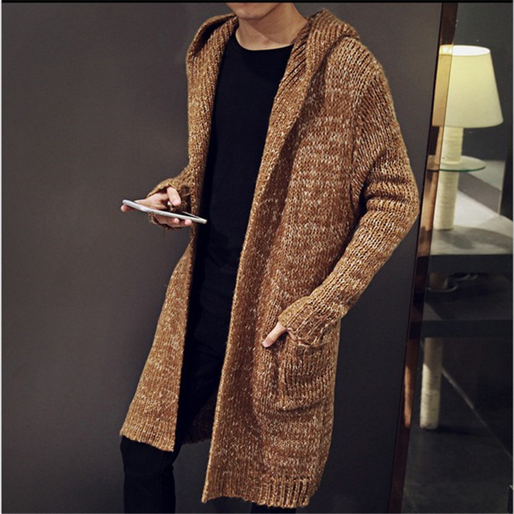 2016 Autumn Winter Loose Long Mens Cardigans Sweaters New Fashion Jumpers Mens Hooded Sueter Knit Sweater Jersey Sudaderas M-2XL