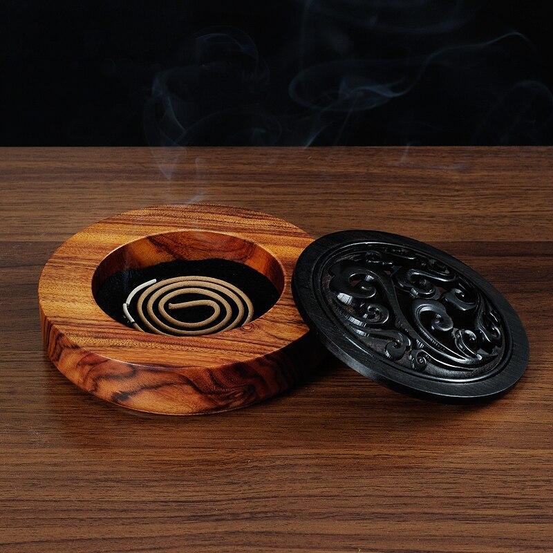 PINNY dřevo santalové dřevo kadidlo duté starožitné kadidlo držitel dřevěné řemesla domácí dekorace cívka kadidelnice buddhista