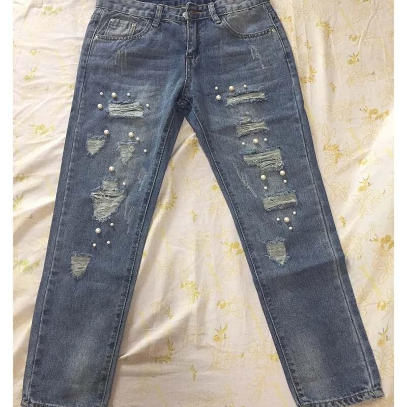 Femmes jeans perle perles perles déchiré bleu crayon pantalon grande taille décontracté femme skinny stretch pantalon Denim jean bas