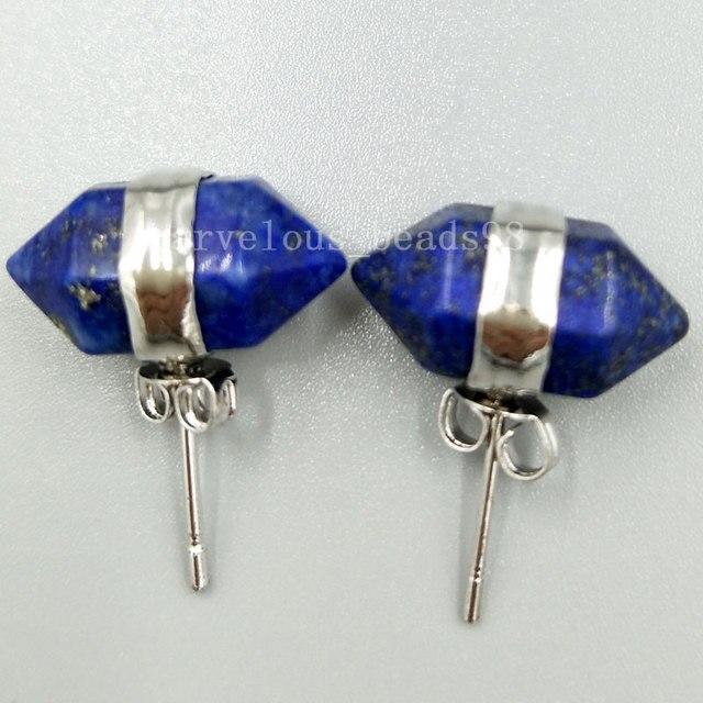 Lapis lazuli stud earrings in sterling silver moUGrvL7q