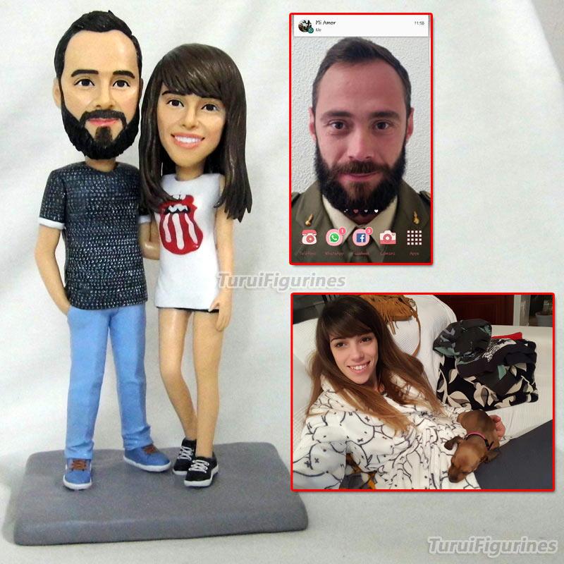 OOAK figurines d'argile de polymère personnalisé fille mini statue sculptures décor de mariage à la main cadeaux pour les amoureux de mariage gâteau topper Décor