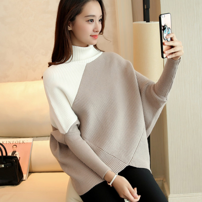 Batwing Sleeve Patchwork Korean Fashion Winter Woman Sweater Knitting Pullovers Sweater Women Pullover Knitted Jumpers Ladies