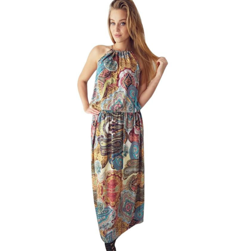 snowshine YLI Womens Summer Vintage Boho Long Maxi Evening Party Beach Floral Dress free shipping