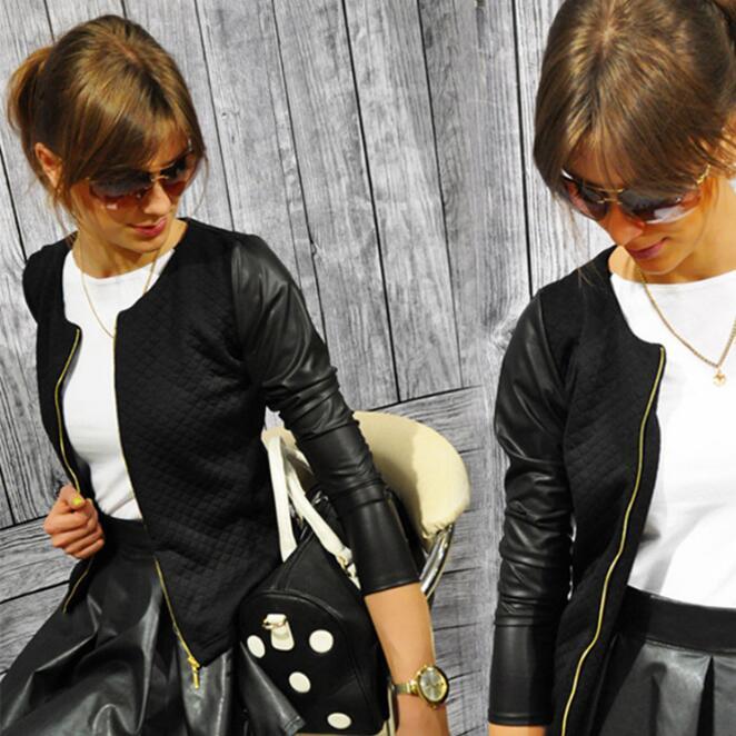 PU Jacket Bandage Crop-Tops Spring Zipper-Crop Punk-Style Black