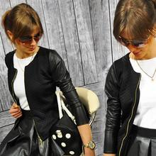 2017 Women Basic Coats Jackets Spring Black Zipper Crop Pu Jacket Punk Style Bandage Women PU Leather Jacket Coat Crop Tops
