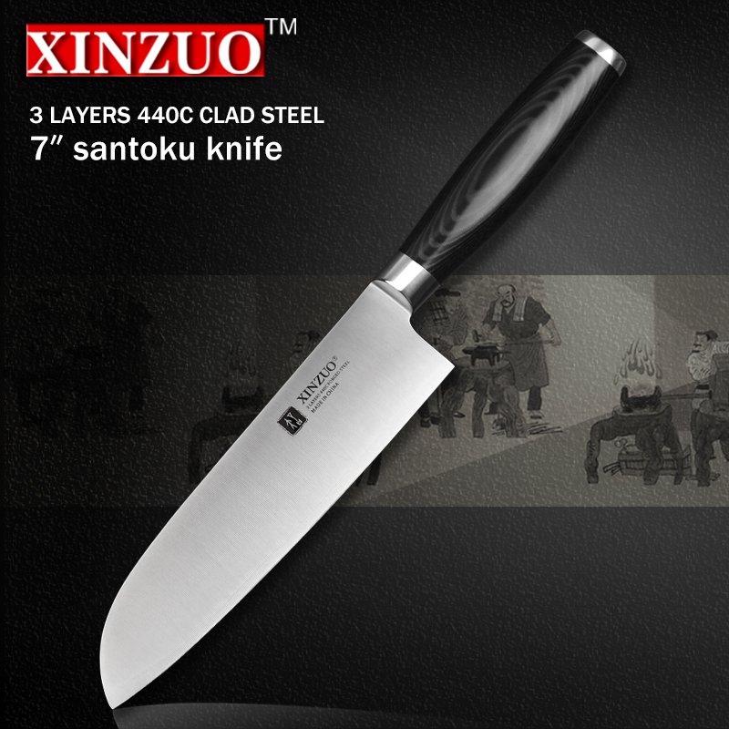 XINZUO 7 inch santoku font b knife b font three layer 440C clad steel kitchen font
