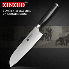 XINZUO 7 inch santoku knife three layer 440C clad steel kitchen knife very sharp Japanese chef knife kitchen tool free shipping