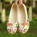 FAMIAO women flats round toe Embroidery spring vintage zapatos mujer Retro Weave sapato feminino ultra cotton fabric