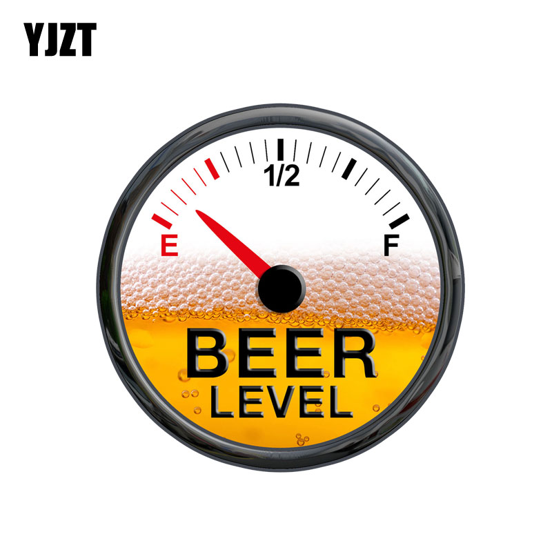 YJZT 14CM*14CM Funny Beer Level Meter Gauge Decal PVC Car Sticker 12-0629