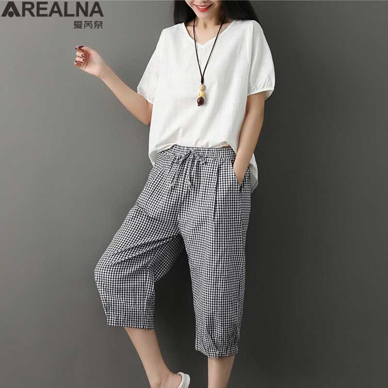 Summer Women two piece set Casual Cotton Linen tops+calf length pants Female plus size office suit 2 pcs set women chandal mujer