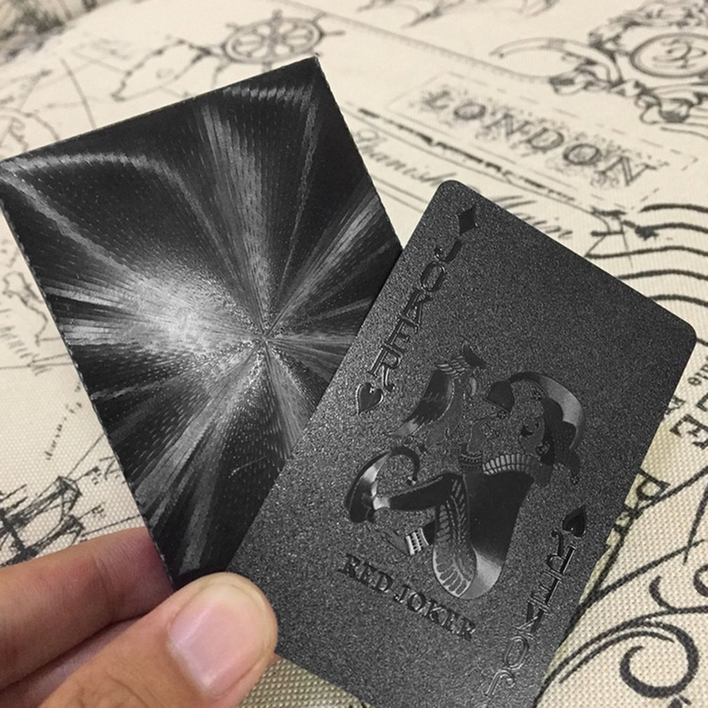 54pcs/pack Waterproof Gold Foil Poker Novelty Collection PVC Plastic Playing Cards Set Solid Color Black Board Game Dropshipping