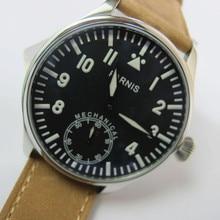 44mm Casual Watch Men Parnis 6498 Hand Winding Movement Blue Luminous Number Handsets Men's Wrist Watches Black Dial