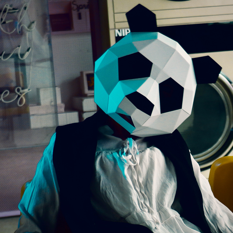DIY Tier Maske Cosplay Kostüm Panda Erwachsene Kinder Karton Atmungsaktive Halloween Party Decortion Party Tricky Lustige Maske