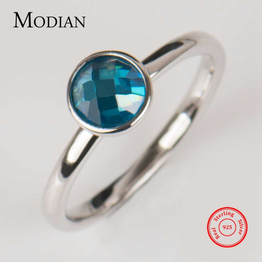 Modian Authentic Real 925 Sterling Silver Ring 5A Blue Zirconia Sparkling Finger Wedding Wedding Stackable Rings For Women Fine Jewelry