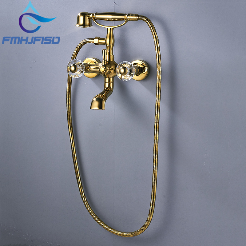 Wholesale And Retail Bathroom Tub Faucet Phone Style Gold-plated  Brass Dual Handles Tub Spout Hand Shower wholesale and retail 20pc 9pin gold plated ceramic tube socket audio accessories rs1003 f3a amplifier free shipping