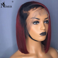NEMER Ombre Lace Front Human Hair Wigs T1B/99J Brazilian Remy Hair Wigs with Baby Hair 150% Density 13x6 Lace Front Hair Wigs