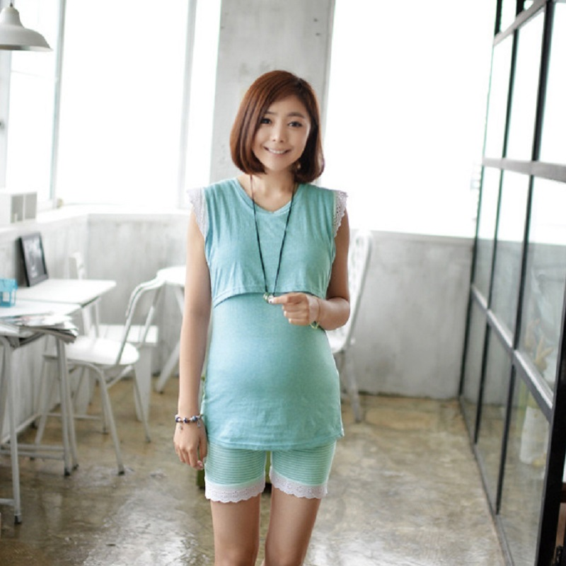 2017 summer maternity tank tops and short pants clothing set pregnant T shirts and trousers