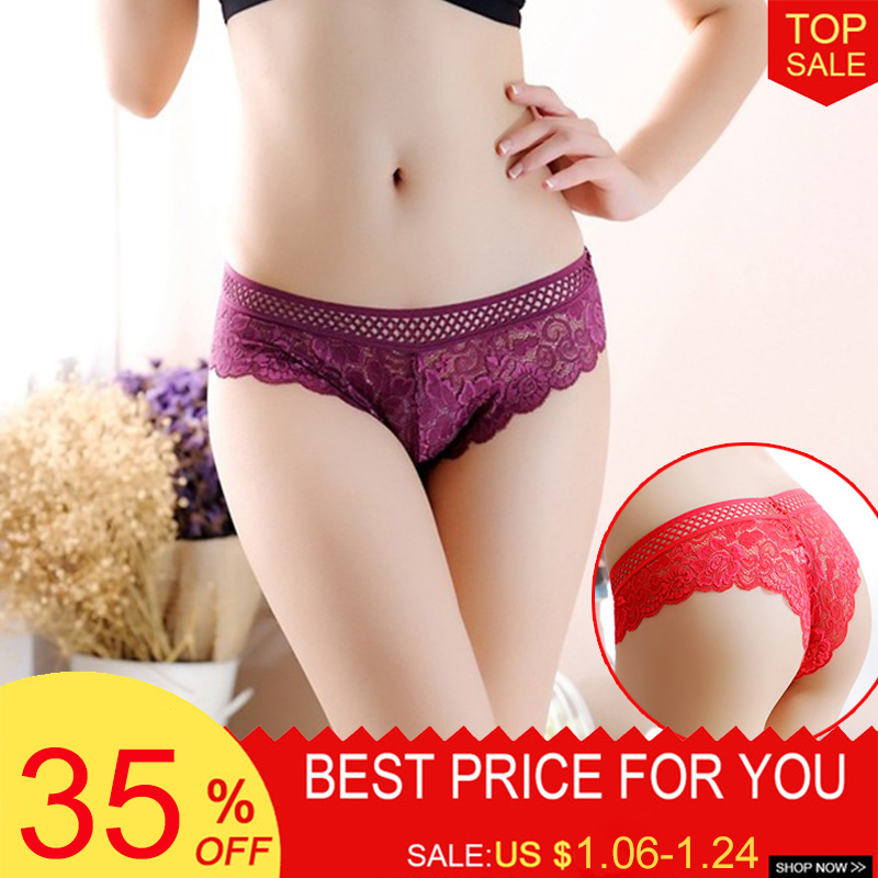 Luckymily Sexy Women's Underwear Lace Low Waist   Pantie   Seamless Hollow Out Lingerie Women Transparent Ropa Interior Femenina