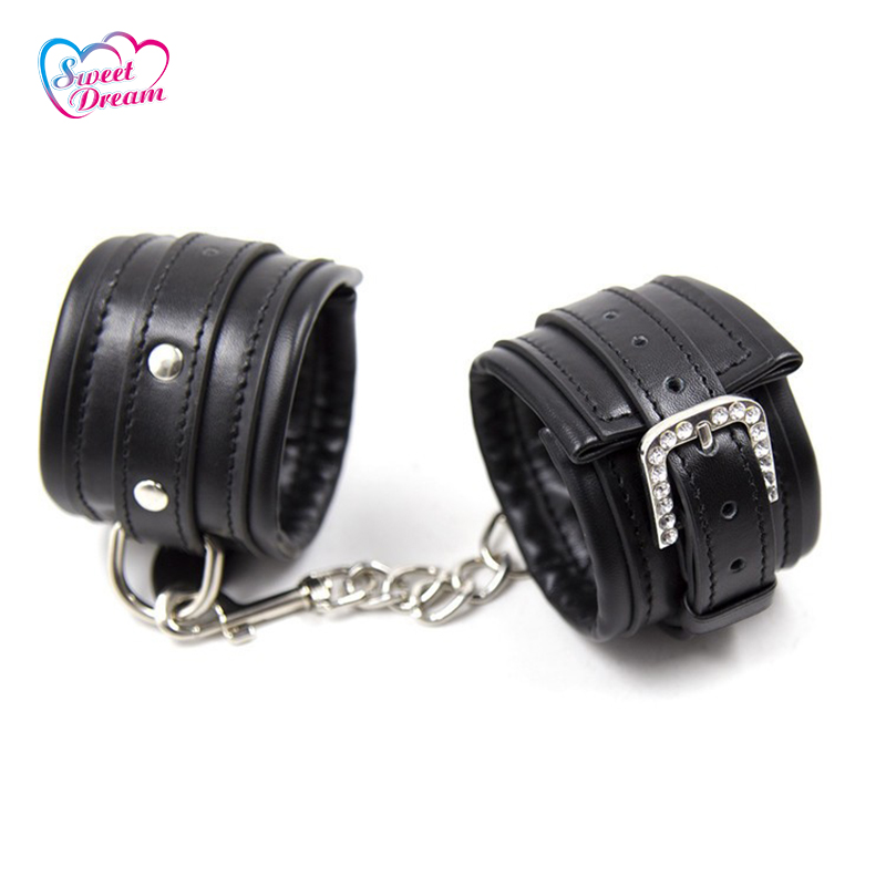 PU Leather Slave Handcuffs Pin Buckle SM Bandage Restraints Role Play Sex Game Fetish Sex Toys for Couples Sex Products DW-139